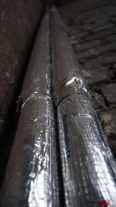 Aluminum foil laminated with scrim with highly effective heat insulation of pipes.